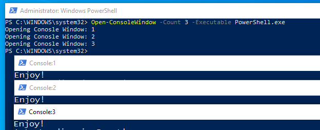 'Open-ConsoleWindow -Count 3' … It's that easy